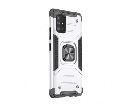 Husa Premium Ring Armor Wozinsky Pentru Samsung Galaxy A21s, Antishock Cu Ring Metalic Pe Spate -Silver
