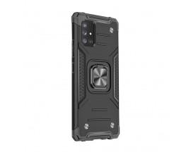 Husa Premium Ring Armor Wozinsky Pentru Samsung Galaxy A71, Antishock Cu Ring Metalic Pe Spate - Negru