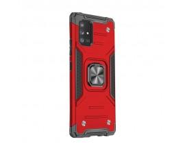 Husa Premium Ring Armor Wozinsky Pentru Samsung Galaxy M51, Antishock Cu Ring Metalic Pe Spate - Rosu