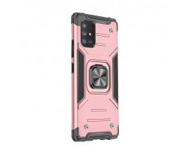 Husa Premium Ring Armor Wozinsky Pentru Samsung Galaxy M51, Antishock Cu Ring Metalic Pe Spate - Roz