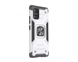 Husa Premium Ring Armor Wozinsky Pentru Samsung Galaxy M51, Antishock Cu Ring Metalic Pe Spate - Silver