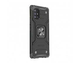 Husa Premium Ring Armor Wozinsky Pentru Samsung Galaxy A21s, Antishock Cu Ring Metalic Pe Spate - Negru