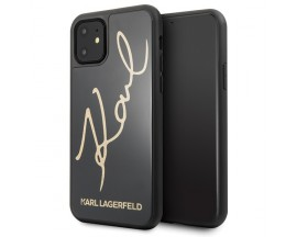 Husa Premium Karl Lagerfeld Compatibila Cu iPhone 11, Signature Glitter Negru Gold
