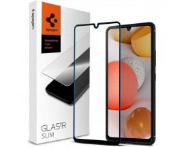 Folie Premium Tempered Glass Spigen Glass Tr Slim Samsung Galaxy A42 5G, Transparenta Cu Margini Negre
