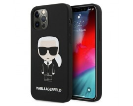 Husa Premium Karl Lagerfeld iPhone 12 / 12 Pro, Colectia Silicone Iconic, Negru - KLHCP12MSLFKBK
