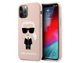Husa Premium Karl Lagerfeld iPhone 12 / 12 Pro, Colectia Silicone Iconic, Roz - KLHCP12MSLFKPI