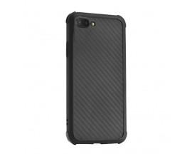 Husa Spate Silicon Roar Carbon Armor Antishock Compatibila Cu Iphone 7+ Plus / 8+ PLus, Negru