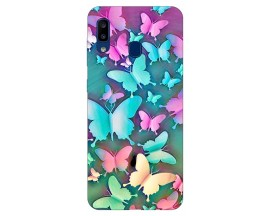 Husa Silicon Soft Upzz Print Compatibila Cu Samsung Galaxy A20  Model Colorfull Butterflyes