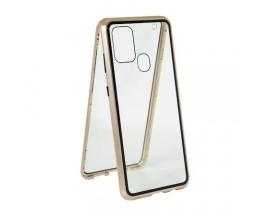 Husa Premium Upzz Magneto Glass 360 Grade Pentru Samsung Galaxy A21s, Rama Metalica, Gold