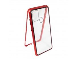 Husa Premium Upzz Magneto Glass 360 Grade Pentru Samsung Galaxy A21s, Rama Metalica, Rosu