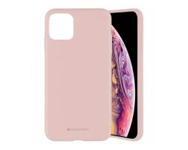 Husa Spate Mercury Goospery Silicone Compatibila Cu Iphone 11 Pro Max, Interior Alcantara Roz