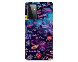 Husa Silicon Soft Upzz Print Compatibila Cu Samsung Galaxy A72 Model Neon