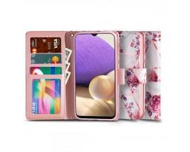 Husa Flip Carte Upzz Tech Wallet Compatibila Cu Samsung Galaxy A12, Floral Rose