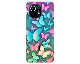 Husa Silicon Soft Upzz Print Compatibila Cu Xiaomi Mi 11 Model Colorfull Butterflies