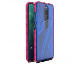 Husa Antishock Upzz Spring Compatibila Cu Huawei Mate 20 Lite, Transparenta Cu Margine Roz