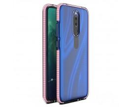 Husa Antishock Upzz Spring Compatibila Cu Huawei Mate 20 Lite, Transparenta Cu Margine Roz Deschis