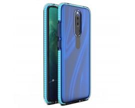 Husa Antishock Upzz Spring Compatibila Cu Huawei Mate 20 Lite, Transparenta Cu Margine Albastru Deschis