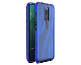 Husa Antishock Upzz Spring Compatibila Cu Huawei Mate 20 Lite, Transparenta Cu Margine Albastru