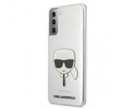 Husa Premium Originala Karl Lagerfeld Compatibila Cu Samsung Galaxy S21, Transparent Karl Head - KLHCS21SKTR