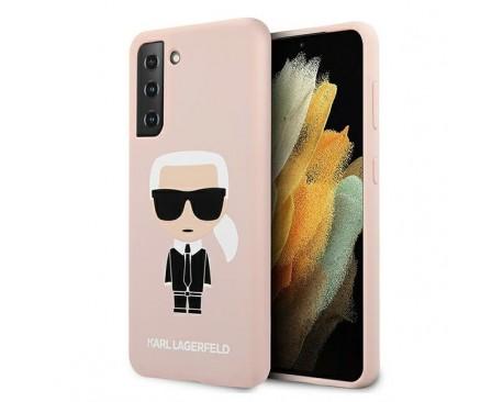 Husa Premium Originala Karl Lagerfeld Compatibila Cu Samsung Galaxy S21, Silicon Iconic, Roz - KLHCS21SSLFKPI