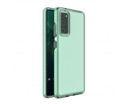 Husa Antishock Upzz Spring Compatibila Cu Samsung Galaxy S20 Fe, Transparenta Cu Margine Verde