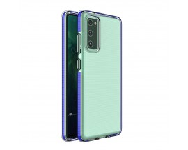 Husa Antishock Upzz Spring Compatibila Cu Samsung Galaxy S20 Fe, Transparenta Cu Margine Albastru Navy