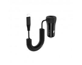 Incarcator Auto Hoco Cu Cablu Lightning Spirala, 1 x Usb, 2.1A, Negru - Z21A