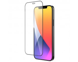 Folie Sticla Securizata Hoco Satterproof  Compatibila Cu iPhone 12 Pro Max Transparenta Cu Rama Neagra - Hd A19