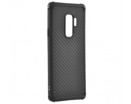 Husa Spate Silicon Roar Carbon Armor Antishock Compatibila Cu Samsung Galaxy S9+ Plus, Negru