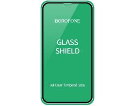 Folie Sticla Securizata Borofone Elephant  Compatibila Cu iPhone 12 Mini, Transparenta Cu Rama Neagra