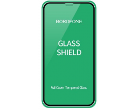 Folie Sticla Securizata Borofone Elephant  Compatibila Cu iPhone 12 Pro Max, Transparenta Cu Rama Neagra