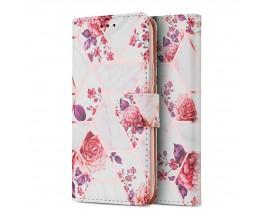 Husa Flip Carte Upzz Tech Wallet Compatibila Cu Samsung Galaxy M12, Floral White