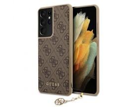 Husa Premium Guess Compatibila Cu Samsung Galaxy S21 Ultra, Colectia Charms, Maro - 503218