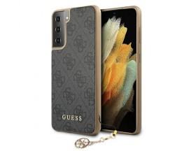 Husa Premium Guess Compatibila Cu Samsung Galaxy S21 5G, Colectia Charms, Gri - 503225