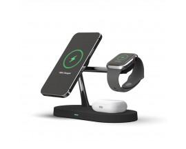 Incarcator Premium Wireless 3 in 1 Tech Protect A12 Magnetic Magsafe, Pentru Telefon , Casti , Smartwatch, Negru