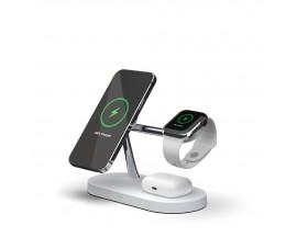 Incarcator Premium Wireless 3 in 1 Tech Protect A12 Magnetic Magsafe, Pentru Telefon , Casti , Smartwatch, Alb