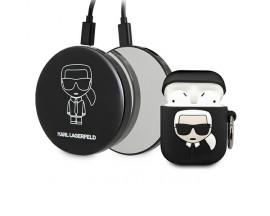 Husa Si Baterie Externa Premium Karl Lagerfeld Pentru Airpods 1 / 2, Negru