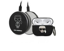 Husa Si Baterie Externa Premium Karl Lagerfeld Pentru Airpods Pro, Negru