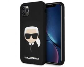 Husa Spate Premium Karl Lagerfeld Compatibila Cu iPhone 11 Pro Max, Colectia Karl Head, Negru - 03333