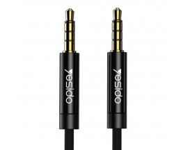Cablu Audio Aux Jack La Jack 3.5mm Yesido Negru Textil Yau-14 Lungime 1M