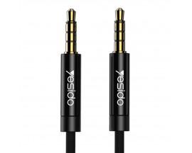 Cablu Audio Aux Jack La Jack 3.5mm Yesido Negru Textil Yau-15 Lungime 2M