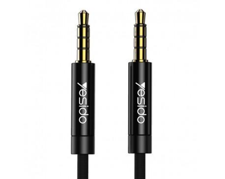 Cablu Audio Aux Jack La Jack 3.5mm Yesido Negru Textil Yau-16 Lungime 3M