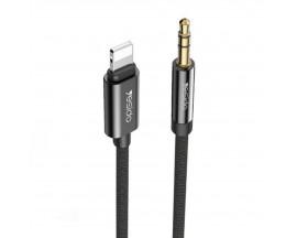 Cablu Audio Aux Jack 3.5mm La Lightning Yesido Negru Textil Yau-17 Lungime 1M