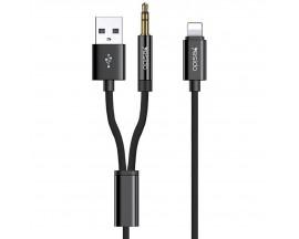Cablu Audio Aux Jack 3.5mm Si Usb  La Lightning Yesido Negru Textil Yau-18 Lungime 1M