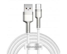 Cablu Date Incarcare Baseus Cafule Metal Usb la Usb-C Power Delivery 40W, Super Charge Protocol, 2M Lungime Alb - CATJK-B02