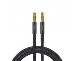 Cablu Audio Aux Jack La Jack 3.5mm Joyroom Negru Textil, Lungime 1M SY-10A1
