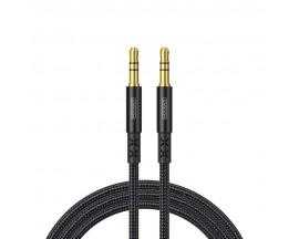 Cablu Audio Aux Jack La Jack 3.5mm Joyroom Negru Textil, Lungime 1.5M SY-15A1