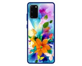 Husa Premium Spate Upzz Pro Anti Shock Compatibila Cu Samsung Galaxy S20, Model Painted Butterflies 2, Rama Albastra