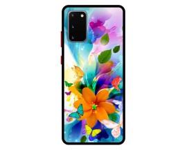 Husa Premium Spate Upzz Pro Anti Shock Compatibila Cu Samsung Galaxy S20, Model Painted Butterflies 2, Rama Neagra
