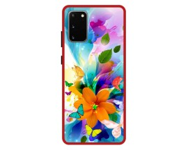 Husa Premium Spate Upzz Pro Anti Shock Compatibila Cu Samsung Galaxy S20, Model Painted Butterflies 2, Rama Rosie